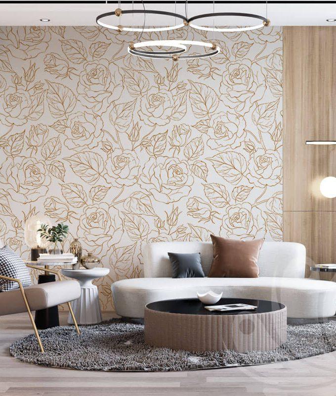 Prime Gold Floral Wallpaper