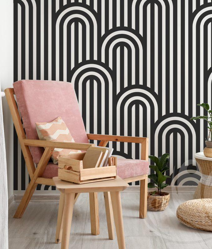 Striped Seamless Black Wallpaper