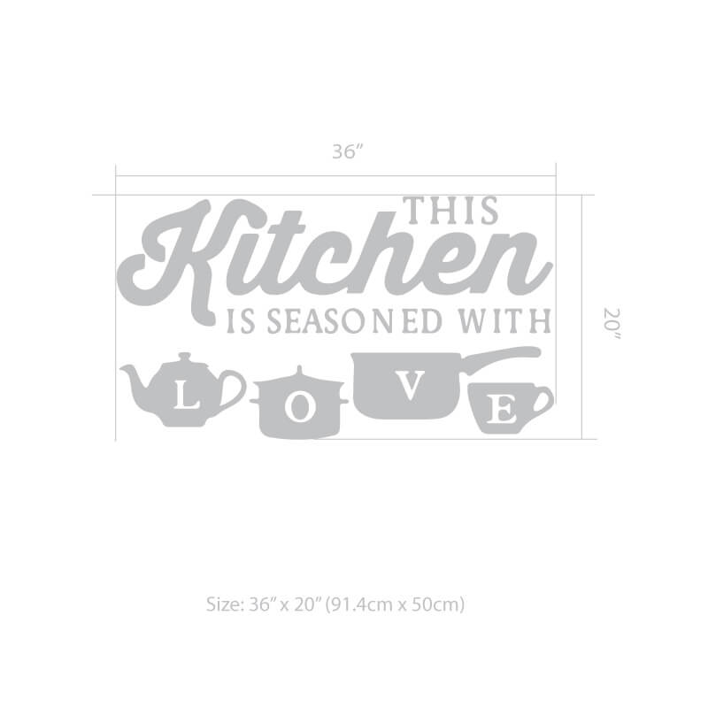 Kitchen Love Wall Decal Size