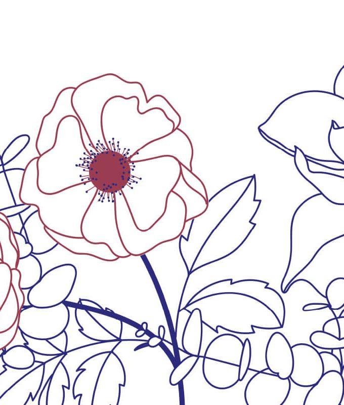 Line Flower Summer Wallpaper Pattern