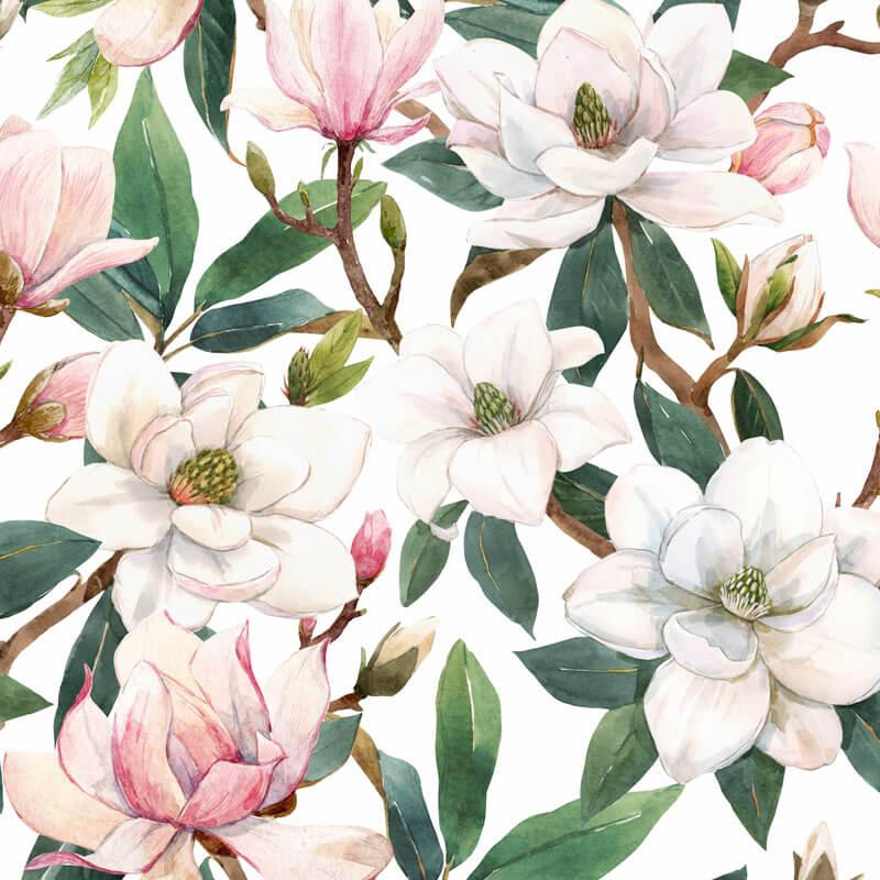 Pink Magnolia Flower Pattern