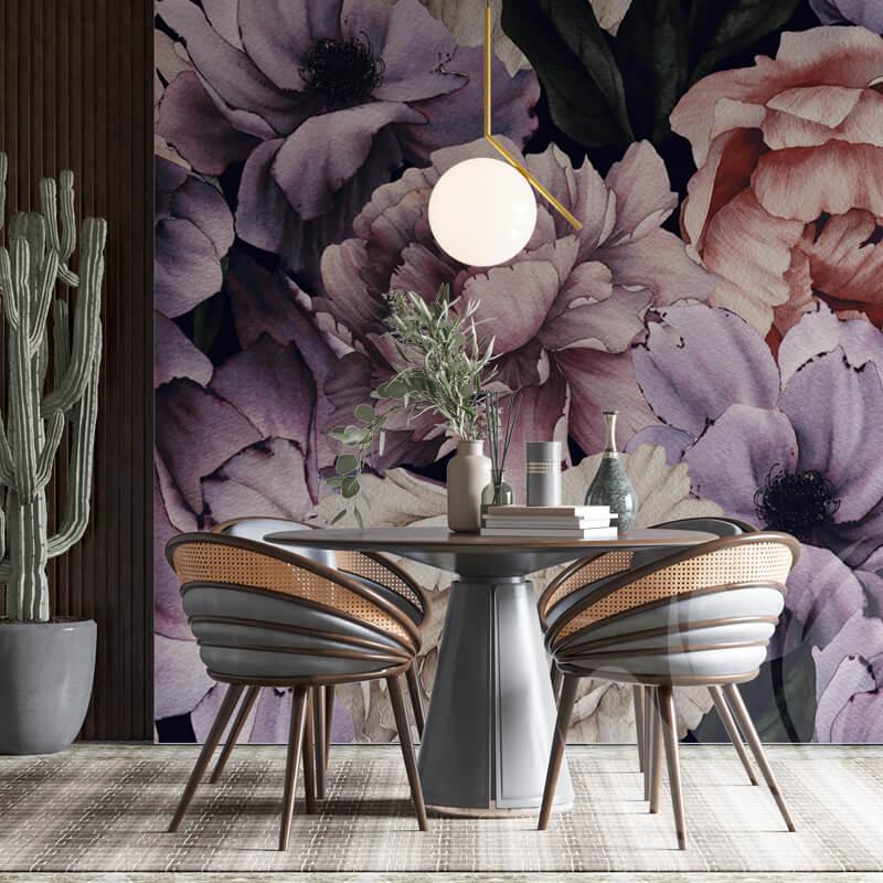Purple Peonies Floral Wallpaper