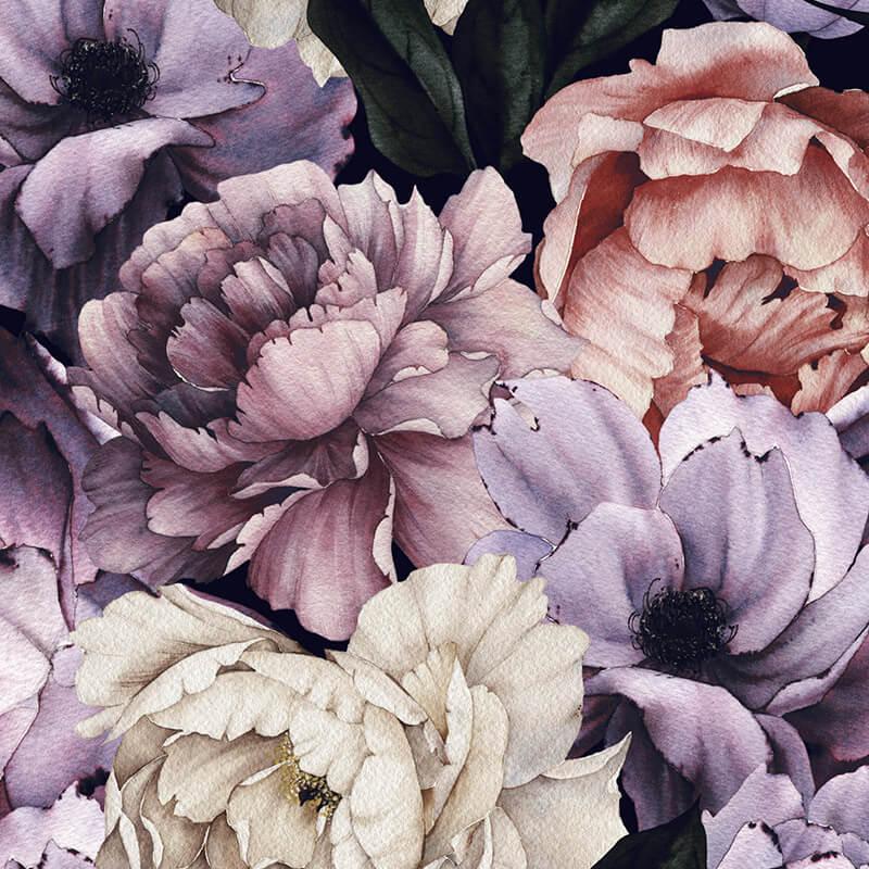 Purple Peonies Floral Pattern