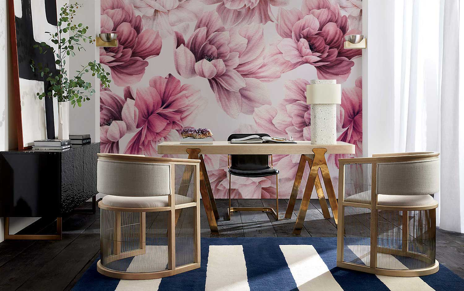 Style your dining with Pink Floral Wallpaper