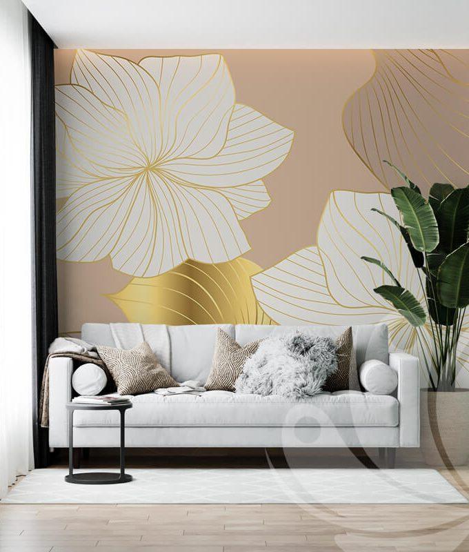 Gold Line Flower Wallpaper