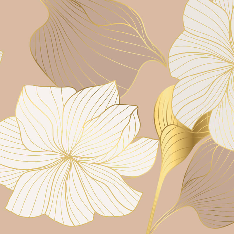 Gold Line Flower Wallpaper Pattern