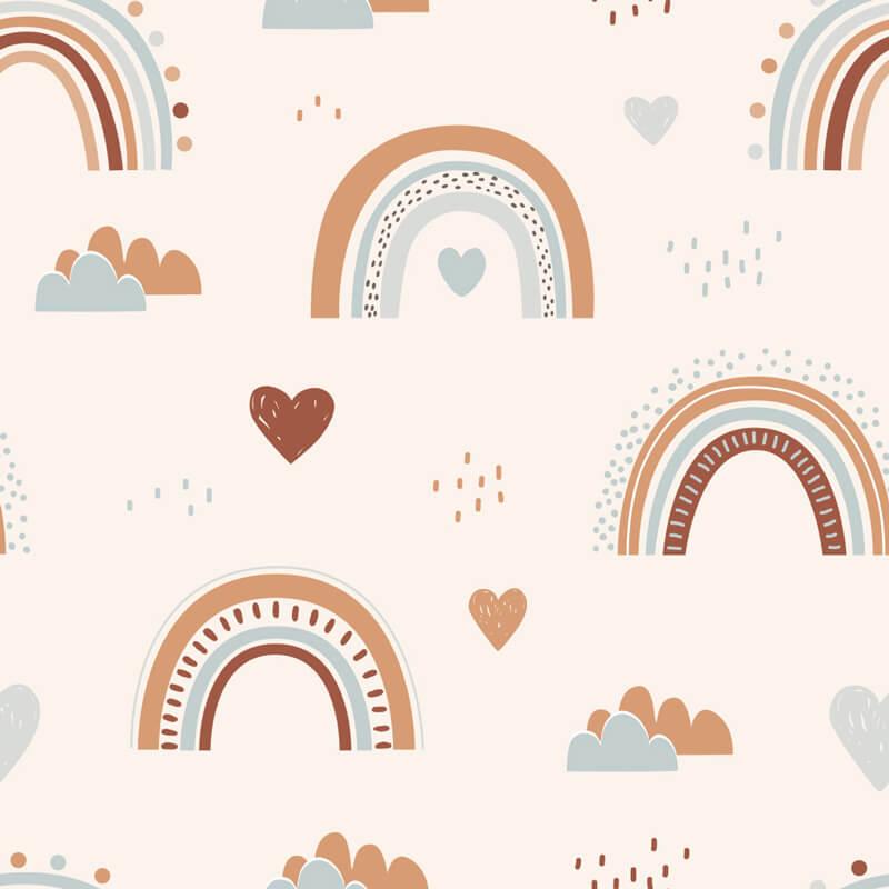 Kids Rainbow Wall Mural Pattern