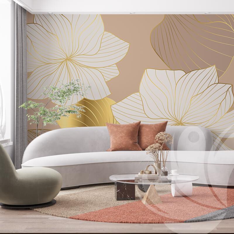 Gold Line Flower Wall Mural