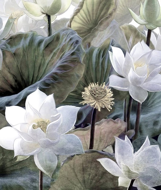 Lotus Flowers Mural Pattern