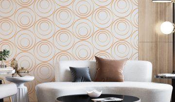 Elegant Dresser with Geometric Wallpaper